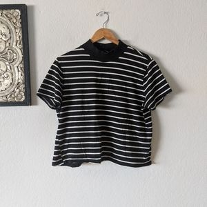 Zara Stripe Crop Top Black and white